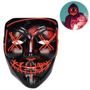Halloween Maske, LED Purge Maske im Dunkeln Leuchtend, Halloween Purge Maske 3 Beleuchtungsmodi - Rot