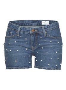 Cross Damen Marken-Jeansshorts mit Perlen, blau, Größe:30