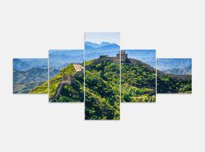Leinwandbild 5 tlg. 200cmx100cm Chinesische Mauer China Asien Landschaft Peking Bilder Druck auf Leinwand Bild Kunstdruck mehrteilig Holz 9YA106, 5Tlg 200x100cm:5Tlg 200x100cm