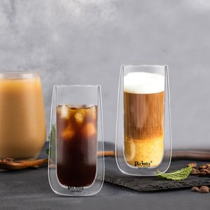 Doppelwandige Thermo Gläser Set Saft Latte Macchiato Cocktail Kaffee Tee 2 x 260ml