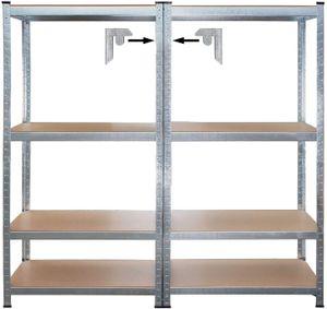 Schwerlastregal – Doppelregal System 160 x 160 x 40 cm – 2 Steckregale aus galvanisiertem Stahl mit MDF Böden – Stahlregal mit variabel verstellbaren Böden