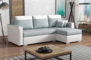 Ecksofa NEMS Grau - Relaxecke mit Bettkasten und Schlaffunktion für Wohnzimmer