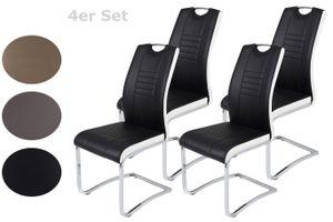 4er Set Schwingstuhl Tabea - Kunstleder Schwarz/Weiß - Metallgestell verchromt - Bügelgriff - Belastbarkeit ca. 120kg