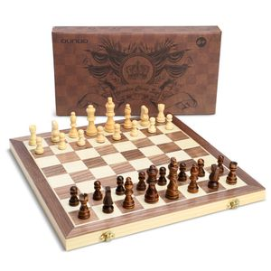 OUNUO Schachspiel aus Holz - klappbares magnetisches Schachbrett - handgefertigt Schach - Qualität Schachkassette - Faltschachset für Haus, Reise - Pädagogische Speil für Kinder