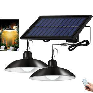 Außen Solarlampe Solar Pendelleuchte IP65 Wasserdichte Garten Hängelampe mit 2 Lampen und Fernbedienung, Warmweiß