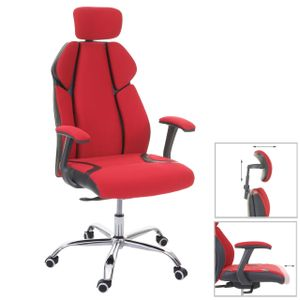 Bürostuhl MCW-F12, Schreibtischstuhl Drehstuhl Racing-Chair, Sliding-Funktion Stoff/Textil + Kunstleder  rot/schwarz