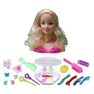 Mädchen Spielzeug Schminkkopf, Frisierkopf, Schminkpuppe inklusiv Kosmetik und Zubehör Spielset, 17-teilige C 27x10x23cm Mehrfarbig