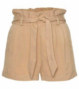 AjC Paperbag-Shorts schlichte Damen Bermuda mit Bindegürtel Beige, Größe:42