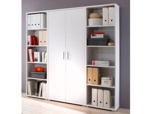 möbelando Regalwand Aktenschrank Büroschrank Schrankwand Büromöbel Regal Clermont I Weiß
