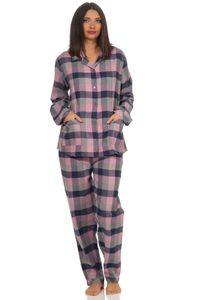 Damen langarm Flanell Pyjama Schlafanzug kariert - 291 201 15 554, Farbe:Karo blau, Größe:44/46