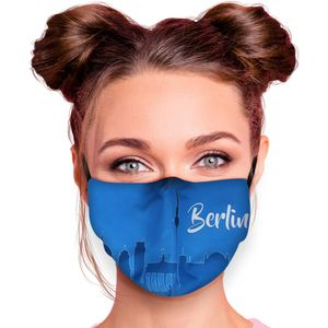 Mundschutz Nasenschutz Behelfs – Maske, waschbar, Filterfach, verstellbar, Motiv Berlin