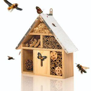 bambuswald© Insektenhotel mit Metalldach   Insektenhaus Nützlingshotel - Unterschlupf für Bienen Wespen Schmetterlinge Insekten