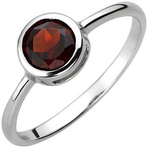 JOBO Damen Ring 54mm 925 Sterling Silber 1 Granat rot Silberring