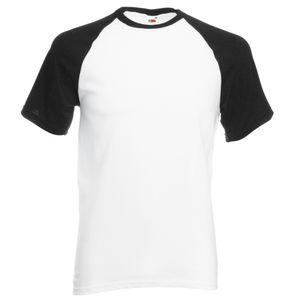 Fruit Of The Loom Herren Baseball T-Shirt, kurzärmlig BC327 (L) (Weiß/Schwarz)