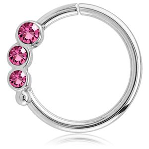 viva-adorno Knorpel Piercing Ring Kristall Ohrpiercing Helix Cartilage Tragus Nasenring 316L Chirurgenstahl verschiedene Farben Z489,Ring 3x silber / pink