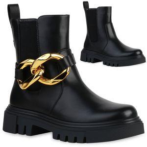 VAN HILL Damen Stiefeletten Plateau Boots Ketten Stiefel Profilsohle Schuhe 837672, Farbe: Schwarz, Größe: 39