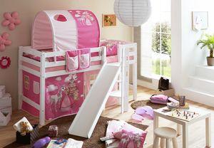 Hochbett mit Rutsche Podestbett Tino Buche massiv Weiss teilbar mit Farbauswahl, Vorhangstoff:Horse Pink