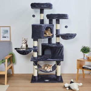 Kratzbaum xxl , Kratzbaum für größe Katzen, 145 cm Katzenbaum Kletterbaum Katzenkratzbaum, Katzenmöbel Katzenspielzeug Schlafplatz zum Kratzen, Spielen und Toben
