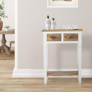 WOMO-DESIGN Konsolentisch Jinan mit 2 Schubladen 60x35x80cm Natur/Weiß Massivholz Mangoholz Landhaus-Stil, Beistelltisch Schminktisch Flurtisch Sofatisch Schreibtisch Konsole Tisch für Eingangsbereich
