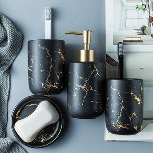 Selm Edles Bad Accessoires Set, 4-teiliges Stilvolles Badzubehör mit Marmor Seifenspender, Seifenschale und Zahnputzbecher, Badezimmer Zubehör Set aus Keramik
