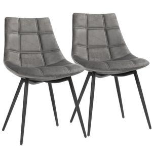 SONGMICS Esszimmerstühle  2er Set| Küchenstühle Polsterstühle mit Eisenbeinen glatte Samtoberfläche Loungesessel grau LDC84GY