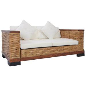 vidaXL 2-Sitzer-Sofa mit Auflagen Braun Natur Rattan