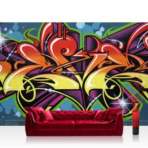 Vlies Fototapete no. 0344 - 300X210 cm - 344 Graffiti Tapete Jugendtapete Graffiti Schrift bunt orange liwwing (R)