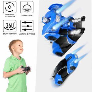 An der Wand montiertes RC-ferngesteuertes Autospielzeug mit USB-Aufladung und LED-Licht, verformbar, blau