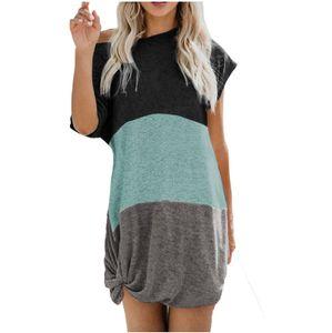 Frauen Mode Sexy Casual Spleißen Patchwork O-Ausschnitt Kurzarm Kleid Größe:XXL,Farbe:Grün