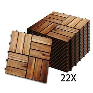 Hengda 2m2 Holzfliesen Mosaik Akazienholz Fliese 22 Stueck 30x30 cm Balkonfliesen Gartenfliesen Terrassenfliesen fuer Garten Terrasse Balkon