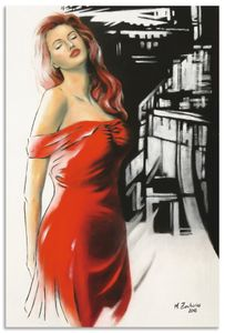 ARTland Alubilder Schönheit im roten Kleid Alubild Größe: 20x30 cm