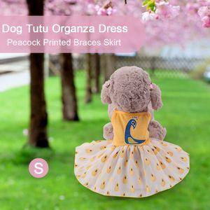 Hund Tutu Kleid Organza Hosenträger Rock Pfau gedruckt Mädchen Hund Prinzessin Outfit für kleine weibliche Hunde[Gelb]