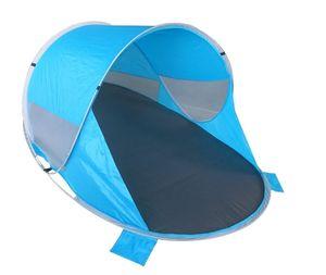 Strandzelt Pop Up Strandmuschel Wetter- und Sichtschutz grau + blau