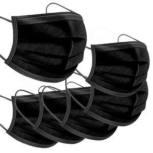 50 Stück Mundschutz 3-lagig Maske , Hygienemaske Schutz Einwegmaske Schutzmaske , Mundschutzmasken,Staubdichte Schönheitsmaske,Staubdicht,Anti-Speichel , schwarz