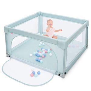 COSTWAY 120 x 120cm Baby Laufstall mit 50 Spielbällen, Laufgitter mit atmungsaktivem Netz und Reißverschluss, Krabbelgitter mit Tür, Laufgitterzelt für Säuglinge und Kleinkinder (Blau)