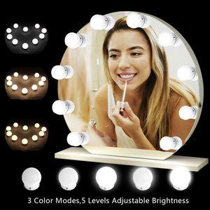 Tomshine 10 LED Spiegelleuchte Hollywood Stil10 LEDs Licht Mit 3 Licht Modus 5 Dimmbar Dehnbar für Kosmetikspiegel/ Schminktisch/ Badzimmer Spiegel [Energieklasse A++]