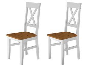 Küchenstuhl Massivholzstuhl Farbton Eiche und weiß Esszimmerstuhl Massivholz V-90.71-24W, Menge:Doppelpack
