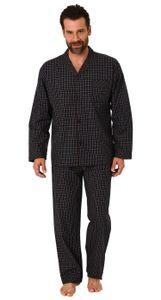 Edler Herren Pyjama langarm Schlafanzug gewebt zum Knöpfen im Karo Design - 65342, Farbe:schwarz, Größe:58