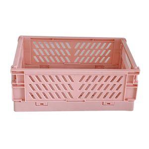 Faltbare Kleine Kunststoff Lagerung Korb Bin Stapelbar Desktop Tidy Organizer Boxen Snack Schrein Kleinigkeiten Lagerung Inhaber Container 15x Farbe Rosa