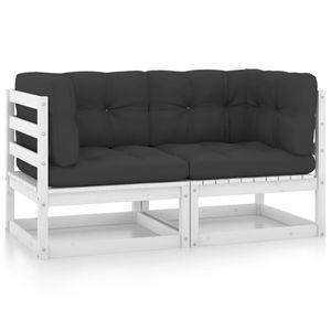 vidaXL Gartensofa 2-Sitzer mit Kissen Kiefer Massivholz Weiß