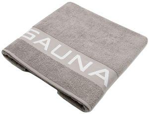 """Saunatuch 100% Baumwolle, 80x200 cm, grau mit Schrift """"SAUNA"""""""