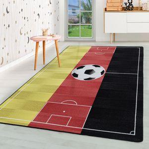 Kurzflor Kinderteppich Kinderzimmer Teppich Spiel Fussball Deutschland Rot, Farbe:Rot, Grösse:100x150 cm