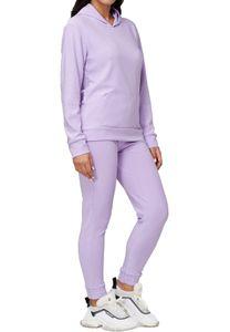 Damen Trainingsanzug 2-Teiliger Jogginganzug Yoga Hoodie Hausanzug Zweiteiler Casual Sportanzug, Farben:Violett, Größe:L-XL