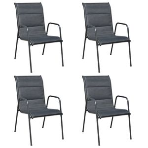 4er Set Stapelbare Gartenstühle Balkonstuhl Terrassenstuhl Stahl und Textilene Schwarz