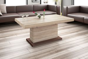 Design Couchtisch Tisch H-333 Sonoma Eiche / Nussbaum höhenverstellbar ausziehbar Esstisch
