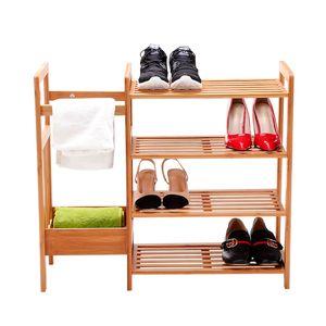 Schuhregal Schuhschrank Schuhablage Holz 4 Ablagen mit Schirmhalter multifunktional aus Bambus Natur