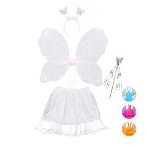 relaxdays 1 x Feenkostüm Kinder, Schmetterling Kostüm weiß, Kinderkostüm Feenflügel Rock