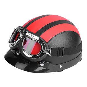 Motorrad Roller Kunstleder Helme Jethelm & Visier UV Schutzbrille Leder + PC DHL