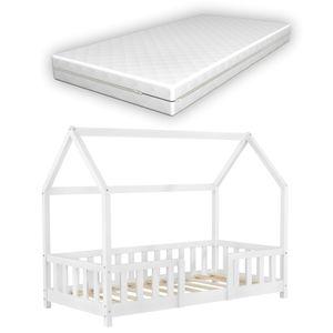 Kinderbett mit Matratze und Rausfallschutz 80x160cm Hausbett mit Kaltschaummatratze Bettenhaus mit Lattenrost Kiefernholz Weiß [en.casa]