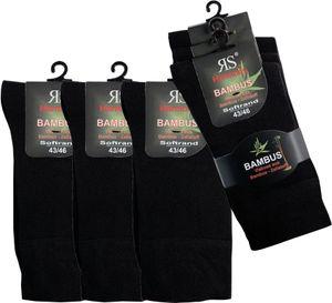 """3 er Pack Socken Schwarz """"Bambus"""" 76% Viskose (aus Bambus - Zellstoff) Größe 39/42"""